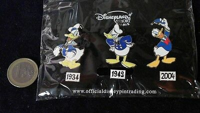 Disney Trading Pin Badge Paris in OVP Set Donald Evolution 1934-2004 70 Years