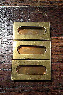 Lot Of 3 Brass Sash Window Recessed Finger Pulls Or Escutcheons