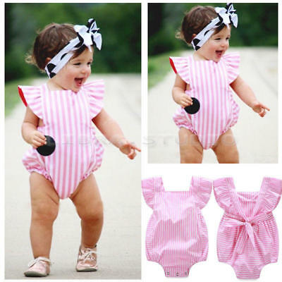 New Striped Infant Baby Girls Bodysuit Romper Jumpsuits Outfits Summer Sunsuit
