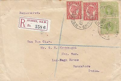 Stamps 1912 usage of Victoria & Queensland on cover registered Sydney to India