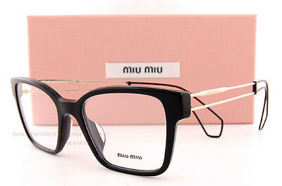 7c58fe2da46 Brand New Miu Miu Eyeglass Frames MU 02PV 1AB 1O1 BLACK For Women Size 51