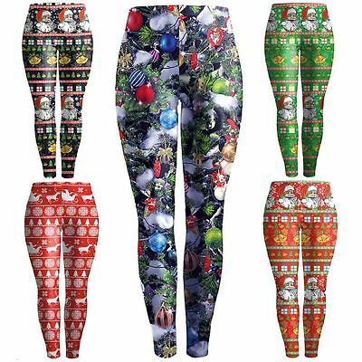Christmas Women's Yoga Workout Gym Print Pants Leggings Fitness Stretch Athletic