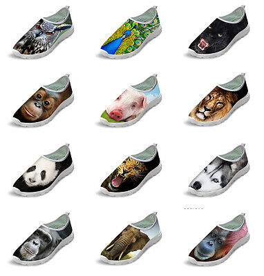 Animal Print Mens Womens Slip On Running Walking Sports Trainers Casual Shoes