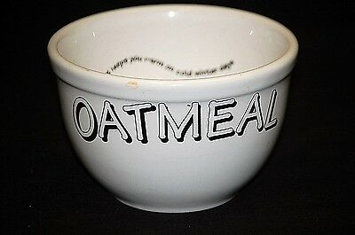 Old Vintage Advertising Large Porcelain Oatmeal Cereal Bowl Kitchen Tool Decor
