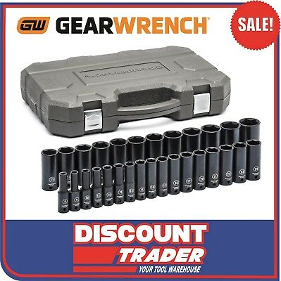 "GearWrench 29 Piece 1/2"" Drive 6 Point Metric Deep Impact Socket Set 84935N"