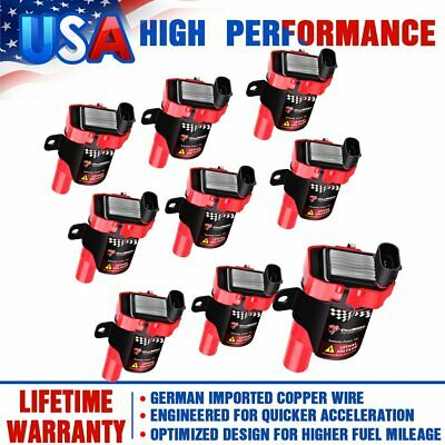 8 Red High Performance Ignition Coils Pack For GMC Chevy C1251 D585 4.8/5.3/6.0L