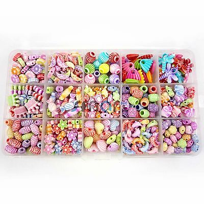 15 Designs Mixed Colors Baby Beads Kit For Kids Set Fun Jewellry Making Craft