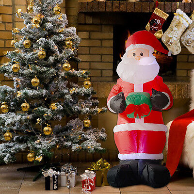 1.8M Air Blown Santa Claus With Gift Box Lighting Xmas Christmas Decoration