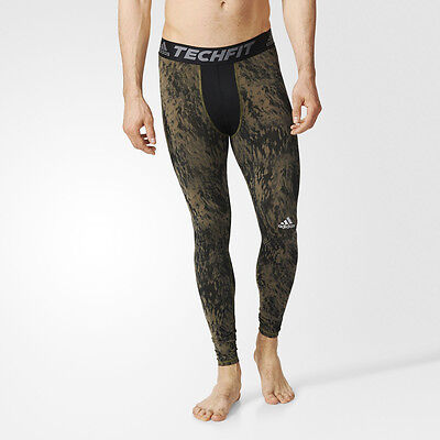 Adidas TechFit Mens Green Black Compression Running Tights Bottoms Pants