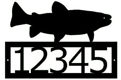 Trout Custom address sign Fish Aquatic steel metal art yard house home street