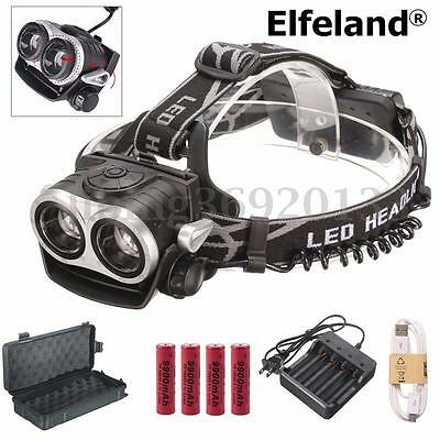 12000LM T6 USB zoom 2X Lampada frontale LED Android Ricaricabile 18650 box HK