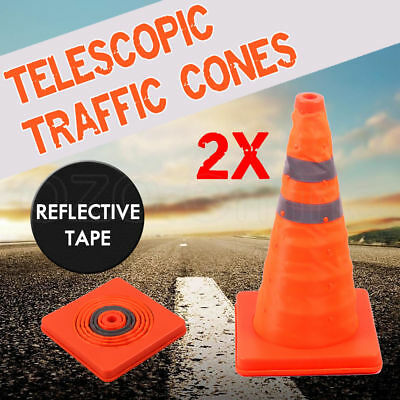2X Folding Traffic Cone Road Reflective Tape Warning Sign Safety Witches Orange