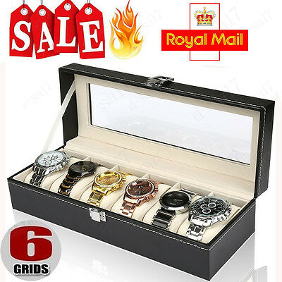 Glass Top Faux Leather Watch Case Organiser Bracelet Storage Display Box Pillows