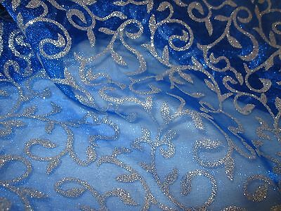 Crystal Organza in royal blau Rankendruck mit Glitzerpartikeln Glitzer