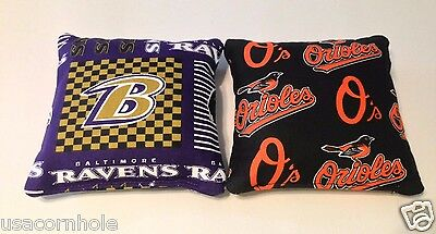 8 ALL WEATHER Cornhole Bean Bags made w Baltimore Orioles /& Ravens Fabric