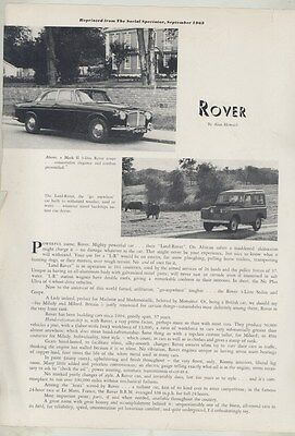1963 Land Rover & Mark II 3 Liter Roadtest Brochure ww5306