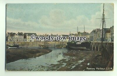 tp9483 - I.O.M.- Early View of Ramsey Harbour, at Low Tide - postcard