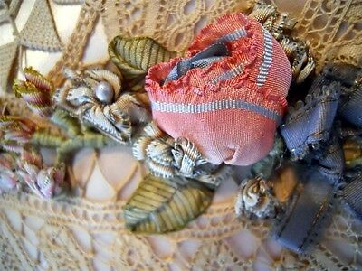 Antique Pillow   Lace Embroidery Rosette Silk Satin Ribbon Work