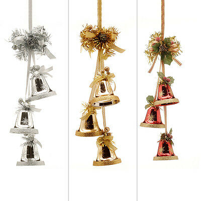 8Cm Home Ruby Gold Silver Ribbon Bell Cluster Christmas Tree Decoration Ornament
