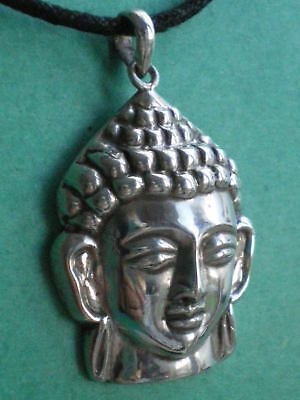 "Silver Buddha Head Pendant Mounted On 18"" Light Silver Chain"
