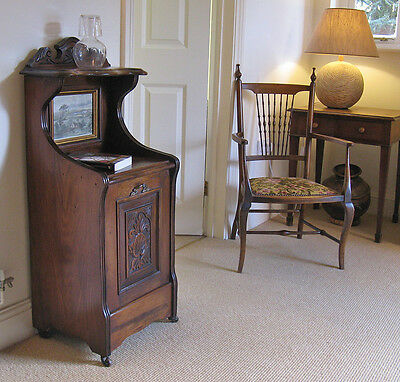 Late 19th Century American Pine Purdonium Hall Table Bedside Cabinet w. Aquatint