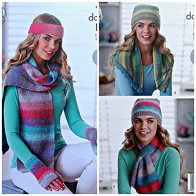 Knitting Pattern Womens Scarf Hat Gloves /& Polo Neck Warmer King Cole 4 Ply 4639