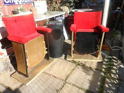 TWO VINTAGE 1930's FULLY RESTORED ART DECO CINEMA SEATS