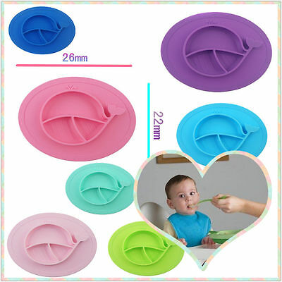 Portable Silicone Child Kids Safe Ezpz Happy Baby Food Divided Placemat Bowl