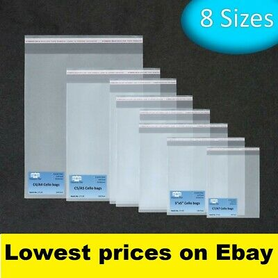 Clear Cello Bags for Greeting cards, crafts. Cellophane peel and seal. 8 sizes.