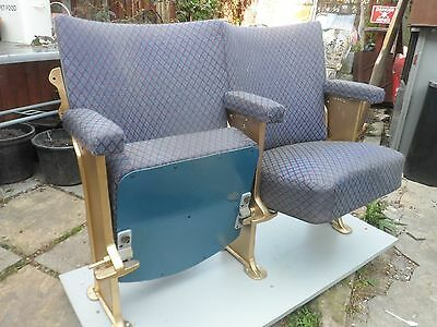 TWO VINTAGE 1930's SEMI RESTORED ART DECO CINEMA SEATS