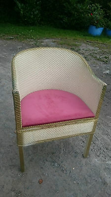 Vintage Lloyd Loom Chair with Gold Edging