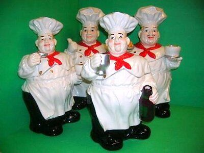 New Kitchen 4Pc 3D Fat Italian Chef Cook Canister Set Cookie Jars