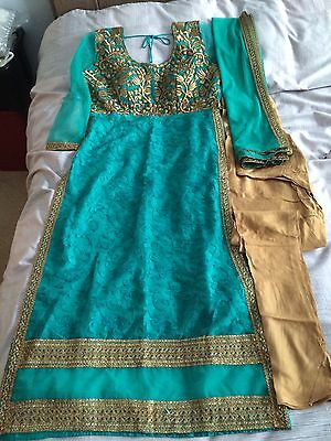 New Indian Asian Turquoise And Gold dress Churidar And kameez