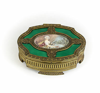 Continental Hand Painted Gilt Bronze and French Enamel Jewelry Box c 1900.