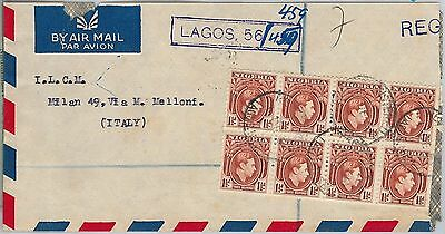 56497 -   NIGERIA - POSTAL HISTORY:  REGISTERED COVER to ITALY 1951 - CUT !