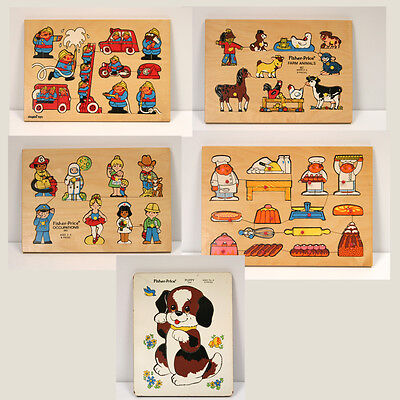 Lot of 5 VTG Wooden Puzzles by Simplex of Holland, Fisher Price Belgium 1971-73