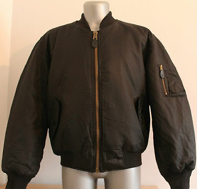 Mens MA-1 Flight Jacket Black/Orange USA BOMBER Militare Size S. New!!!