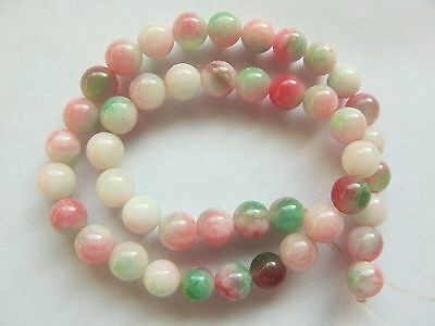 Candy jade pink green 6mm round beads 10""
