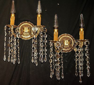 2 Vtg French Spain Cast Brass Glass Shade Sconces Chandelier Wall Light Fixtures