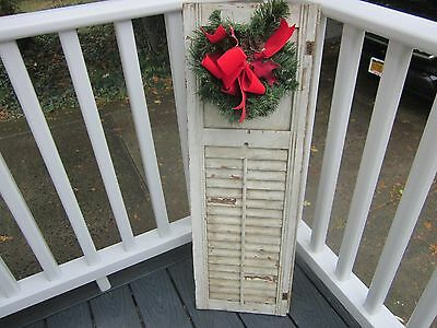 Antique wood shutter/old white paint/partial solid on top/Christmas wreath/