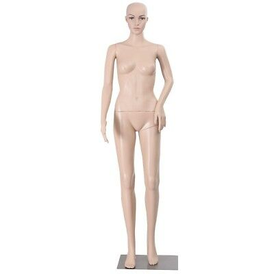 Female Mannequin Plastic Realistic Display Head Turns Dress Form w/ Base