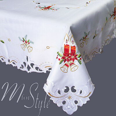 Christmas Embroidered Large Small Tablecloth White or Cream Amazing Quality Rich