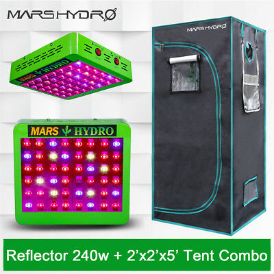 Mars Reflector 240W LED Grow Light Plant Hydro Lamp + 27×27×63 Indoor Grow Tent