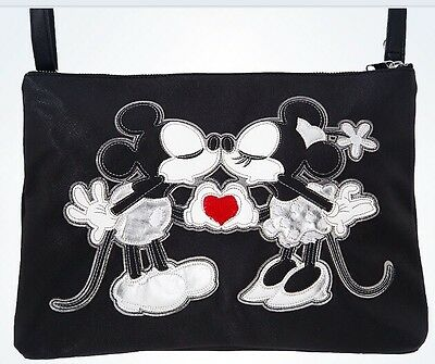 Disney Mickey Minnie Kissing Crossbody Bag Black Authentic