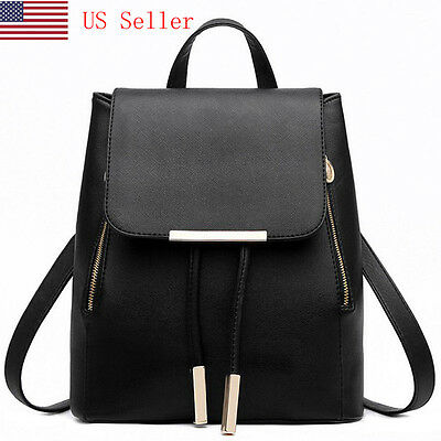 Women Girl Backpack Travel Leather Handbag Rucksack Shoulder School Bag Black US