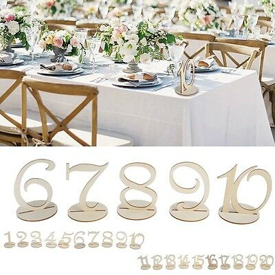 1-10/11-20 Wooden Table Numbers Set with Base Birthday Wedding Party Decor Gifts