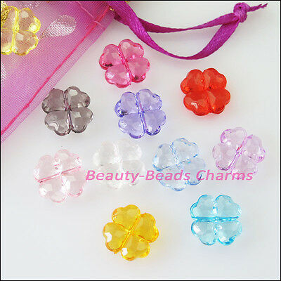 25Pcs Mixed Plastic Acrylic Clover Flower Spacer Beads Charms 11mm
