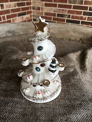 Vintage Ceramic Christmas Tree Candle Holder, Mercury Glass Accents, Lego Japan