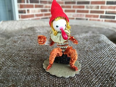 Vintage Gnome Elf, Spun Cotton Head, Chenille Body, Chenille Collar Ornament