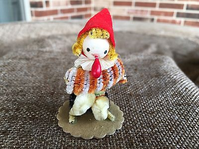 Vintage Musical Gnome Elf Figure Playing Accordion,Spun Cotton,Chenille,Felt
